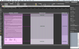 Identifying key areas in the wireframe and blocking off those areas with shades of gray.