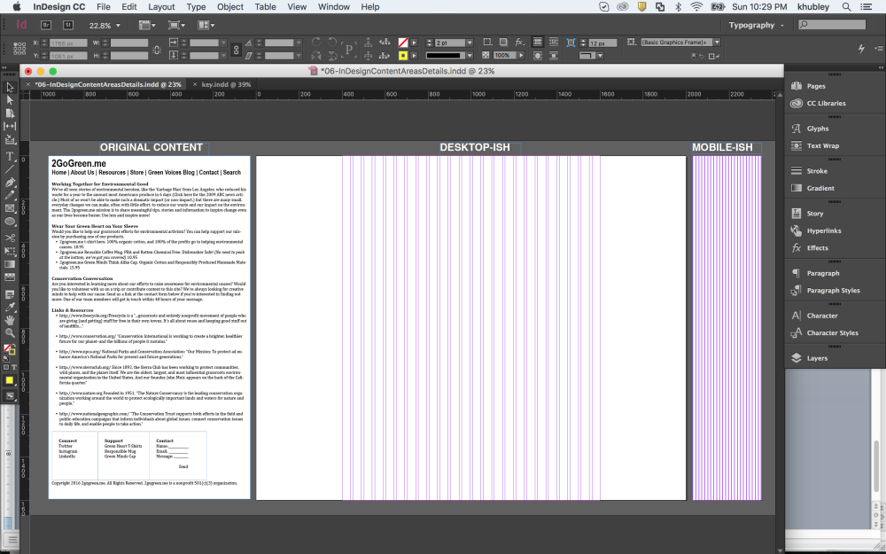 Screenshot of Start File For Wireframing in InDesign